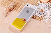 For Apple iPhone Clear  New arrival Liquid hourglass cases for iphone 5,for iphone 5S, innovative design freedom fish transparent cellphone case