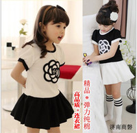 Wholesale Children Dress For Summer New Arrival Black White Flower Pure Cotton Girl Dresses Fit Year Kids Clothing Wear GX191