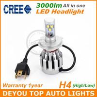 Wholesale 2pcs CREE Kit lm H4 HB2 LED car Headlight Kit Bulb Xenon White High Low Beam Car Truck DRL Driviing Head fog Light Lamp