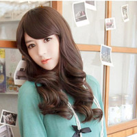 Wholesale Sexy Mixed Big Woman - Hot sell new fashion Women Girls Sexy Bang Wig,big wavy long curly 4color synthetic wig #L04078