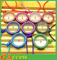 Wholesale Mixed Multicolor Lockets Round CZ Crystal Floating Charm Glass Living Memory Locket Pendant mm Extra Charms Necklace For Gift