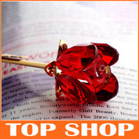 Wholesale Crystal Rose Valentine s Day Gifts K9 Crystal Plating of K Alloy Rose Lover s Flower With Gift Box JJ1001