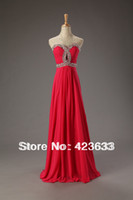 Reference Images Off-the-Shoulder Chiffon 2014 Stocked Sexy Red Prom Dress Under $50 Sequined Sweetheart Floor-length Chiffon Cheap Prom Dress Under $50