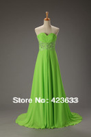 Reference Images Sweetheart Chiffon 2014 Stocked Lime Green Beaded Rhinestone Sweetheart Chiffon Floor Length Lace Up Prom Dress Under $50