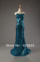 Reference Images Sweetheart Chiffon 2014 Stocked Shining Sequined Beaded Mermaid Court Train Dark Blue Lace Up Cheap Prom Dress Under $50