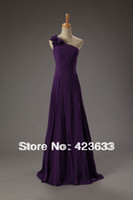 Reference Images One-Shoulder Chiffon 2014 Stocked One Shoulder Handmade Flower Ruched Chiffon Floor Length Purple Prom Dress Under $50