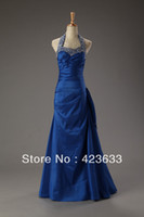 Reference Images Halter Chiffon 2014 Stocked Cheap Halter Prom Dress Under $50 Rhinestone Beaded Ruched Floor Length