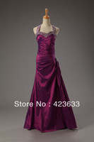 Reference Images Halter Chiffon 2014 Stocked Cheap Halter Prom Dress Under $50 Rhinestone Beaded Ruched Floor Length Dark Violet