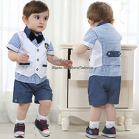 Wholesale Baby Suit Kids Sets Child Clothes Fashion Short Sleeve T Shirts Boys Waistcoat Summer Shorts Children Set Kids Suit Outfits Infant Clothing