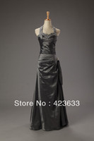 Reference Images Halter Chiffon 2014 Stocked Cheap Halter Prom Dress Under $50 Rhinestone Beaded Ruched Floor Length Charcoal