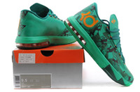 Mid Cut Men Summer 2014 new KD VI basketball shoes dropshipping man sport shoes lightweight durablility shoe green size 41-46
