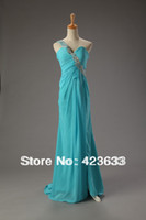 Reference Images Sweetheart Chiffon 2014 Stocked One Shoulder Appliques Beaded Ruched Sweetheart Chiffon Turquoise Prom Dress Under $50