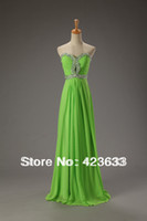 Reference Images Off-the-Shoulder Chiffon 2014 Stocked Lime Green Sexy Prom Dress Under $50 Sequined Sweetheart Floor-length Chiffon Cheap