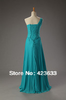 Reference Images One-Shoulder Chiffon 2014 Stocked One Shoulder Handmade Flower Ruched Chiffon Floor Length Turquoise Prom Dress Under $50