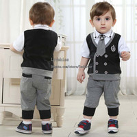 Wholesale Kids Suit Outfits Infant Clothing Baby Suit Kids Sets Child Clothes Toddler Short Sleeve T Shirts Boys Tie Kids Casual Pants Children Set