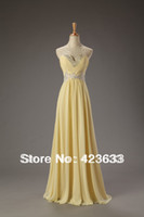 Reference Images Sweetheart Chiffon 2014 Stocked Sweetheart Sequined Beaded Ruched Floor-length Chiffon Light Yellow Cheap Prom Dress Under $50