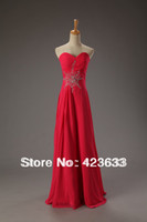 Reference Images Off-the-Shoulder Chiffon 2014 Stocked Ruched Sweetheart Beaded Chiffon Floor Length Lace Up Red Prom Dress Under $50