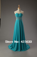 Reference Images Sweetheart Chiffon 2014 Stocked Turquise Ruched Sweetheart Beaded Chiffon Floor Length Lace Up Prom Dress Under $50