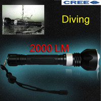 Wholesale Super High brightness Underwater Diving LM CREE XM L T6 LED Flashlight Torch Lamp M Waterproof