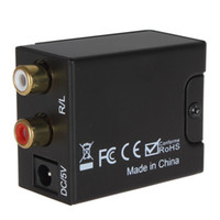 Wholesale Digital Optical Coax Coaxial Toslink to Analog RCA L R Audio Converter Adapter HMP_422
