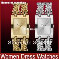 al por mayor reloj de pulsera de las mujeres de plata-Nuevo Doble Pulsera de Cadena de las Mujeres Vestido de Relojes de+las Mujeres de Lujo de la Marca Casual de Acero Inoxidable de Dama Reloj+Oro Plata relojes de las Mujeres