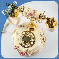 Wholesale Pastoral High Quality Graceful Multi functional Antique Telephone with Nice Pink Rose covered the Case