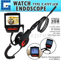 C0588G Wearable 2.4inch TFT LCD Type de montre rechargeable Endoscope Endoscope Inspection Vidéo 6 LED Camera 8.5mm de diamètre + 1M Câble