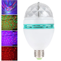 Wholesale 30pcs Mini RGB E27 Crystal Rotating magic ball stage light effect LED Lamp bulb for party Disco DJ Lighting