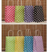 """Paper Hand Length Handle Kraft Paper 50pcs lot Polka Dot Small 8.26 """"*5.11""""*3.14"""" Kraft Paper Bags with Handles Party Gift Candy Clothes Packaging Free Shipping"""