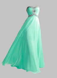 Wholesale 2014 HOT Lime Green Aqua Sweetheart New Hot Chiffon Empire Long Cheap Stock Crystal Sequin Evening Prom Dresses Bridesmaid Gowns Dress EV19
