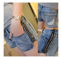 Wholesale New product spring and summer women s short jeans zipper shorts hot pants Low rise jeans Washed blue Fashion selling