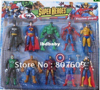 Wholesale SUPER HEROES Action Figure toys Marvel The Avengers Heros with light on chest set PVC best gift for christmas