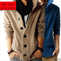 Wholesale OWIND fashion big lapel single breasted men s sweater real wool cotton men s sweater men s wool cardigan