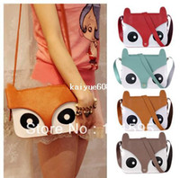Wholesale women small mini Cute cartoon animal fox print bags School Tote Retro fox Shoulder Bag Fashion Owl Fox PU Handbags