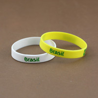 Wholesale 100 Brazil World Cup Football Sports Souvenir Bracelet Silicone Silicon Gel wristbands Wrist Band Bracelets