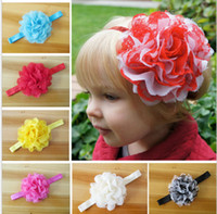 Wholesale Children Hair Accessories Girl Rubber Band Chiffon Lace Sweet Flower hair Band Baby Florals Headband