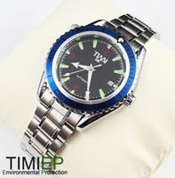 Men's Round 25 Blue Ring Mens Mechanical Clock AUTO SS TIMI Brand Wrist Watch X'mas Gift