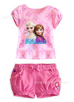 Girl Spring / Autumn Short 2014 hot sale!! 4 styles frozen clothes 2 pcs set elsa anna printed baby girl suit summer children casual clothing kids clothing set