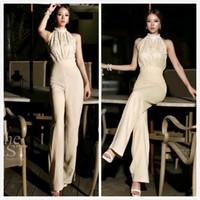 2014 NewestKorean Fashion Star elegante tuta Donne 2013 pagliaccetti signore tuta Halter della perla della rappezzatura del merletto JumpsuitsRompers S / M