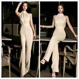Wholesale 2014 NewestKorean Fashion Star Elegant Jumpsuit Women Rompers Ladies Jumpsuit Halter Pearl Lace Patchwork Jumpsuits Rompers S M