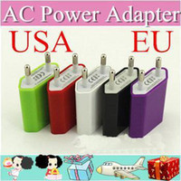 Wholesale 500pcs AC Power Adapter US Plug USB Wall Travel Charger US EU Adapter for iphone S for Samsung Galaxy Cellphones Multi color AA