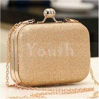 Wholesale 2014 Double Ball Clasp Designer Polished Metal Frame Evening Bag Glittering Clutch Bag PU Leather Handbag Purse with Chain RC011