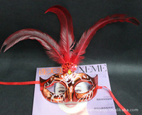 Wholesale Newest Party Mask Christmas Party Mask Wedding Gift Venetian Masquerade Party Halloween Dancing Party Feather Half Face Mask