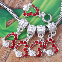 Alloy bulk european bead - Pc beautiful Silver Plated Bulk Bright red Crystal Heart Love Flower European Beads Dangle Charm Fit Bracelet