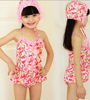 Cheap swimwear Cherry pink spandex swimsuit fabrics Children spa with a swimming cap funds