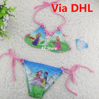 Wholesale Hot Sale Cartoon Princesses Baby Girls Sexy Bikini Girls Swimsuit Kids Summer Swimwear Set Children Beach Supplies Swim Clothing by DHL