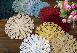 Wholesale 9 off The manual crochet hook flower table cushion pads coaster18x18cm hand crochet hook Drop shipping hot sale high quality