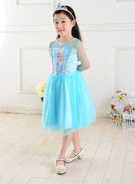 Wholesale frozen girls party prom holidays dresses fashion baby girl outfit skirts kids children frozen clothing sky blue girl tutu dress