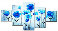 More Panel Oil Painting Abstract Free Shipping,Hot Sell Modern Wall Painting blue flower Home Decorative Art Picture Paint on Canvas Prints, HH046
