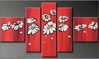 More Panel Oil Painting Abstract Free Shipping,Hot Sell Modern Wall Painting Red White flower Home Decorative Art Picture Paint on Canvas Prints, HH053